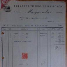 Facturas antiguas: FACTURA. MALLORCA, MANACOR. AGOSTO 1956. MARIJUANDRES. BORDADOS TIPICOS DE MALLORCA.. Lote 32881100