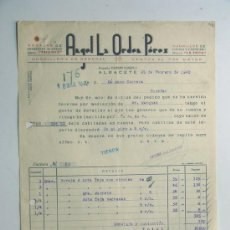 Fatture antiche: ALBACETE / FACTURA NAVAJAS TRIUNFO -CUCHILLOS LA FOCA -ANGEL LA ORDEN AÑO 1942. Lote 32882772