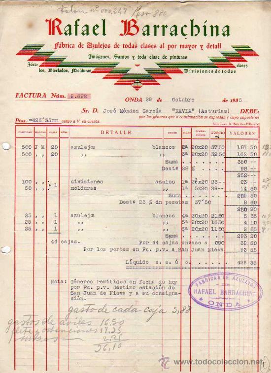 Factura rafael barrachina onda castellon f b comprar facturas antiguas en todocoleccion - Azulejos onda castellon ...