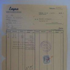 Facturas antiguas: FACTURA. VALENCIA. JULIO 1957. LAYNA. FABRICA DE MUÑECOS ARTISTICOS.. Lote 33514420
