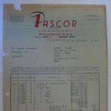 Facturas antiguas: FACTURA. ZARAGOZA. OCTUBRE 1957. HERMANOS PASCUAL, S. R. C. PASCOR, INDUSTRIAS PLASTICAS.. Lote 33514694