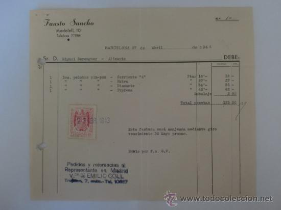 FACTURA. BARCELONA. ABRIL 1944. FAUSTO SANCHO. (Coleccionismo - Documentos - Facturas Antiguas)