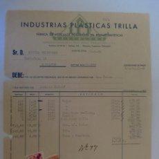 Facturas antiguas: FACTURA. BARCELONA. JUNIO 1956. INDUSTRIAS PLASTICAS TRILLA. FABRICA DE ARTICILOS MOLDEADOS.. Lote 33526421