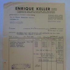 Facturas antiguas: FACTURA. ZARAUZ, GUIPUZCOA. MAYO 1956. ENRIQUE KELLER, S. A. FABRICA DE JUGUETES DE MADERA FINA.. Lote 33526882