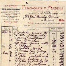 Fatture antiche: FACTURA. FERNANDEZ Y MÉNDEZ. LA MARINA. CEREALES, ULTRAMARINOS, FERRETERIA, GALLETAS, NAVIA ASTURIAS. Lote 33746543