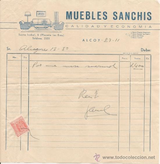 Alcoy factura antigua muebles sanchis con comprar for Muebles sanchis