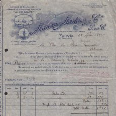 Facturas antiguas: FACTURA AÑO 1933 MARIANO MARTINEZ Y Cª, LA CONSUELITO, MURCIA, LOGOTIPO ARTISTICO. Lote 34340675