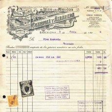 Facturas antiguas: FACTURA AÑO 1960 FABRICA DE TEJIDOS GUARDIOLA Y ALBAREDA, BARCELONA, LOGOTIPO ARTISTICO . Lote 34342490