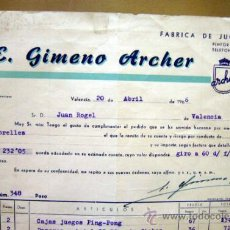 Facturas antiguas: FACTURA JUGUETERIA CON LETRA, JUGUETES ARCHER, VALENCIA, 1966, DAMEROS Y MESA DE PING PONG. Lote 34342912