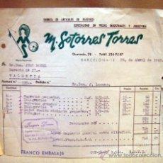 Facturas antiguas: FACTURA JUGUETERIA, ALBARAN Y LETRA, PLASTICOS SOTORRES, BARCELONA, 1965, CAJAS Y COMPLEMENTOS. Lote 34343339