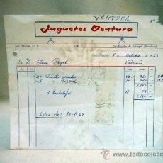 Facturas antiguas: FACTURA JUGUETERIA, JUGUETES VENTURA, 1963, BARCELONA, FUERTES PARA FIGURAS DE PLASTICO. Lote 34343647