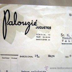 Facturas antiguas: FACTURA JUGUETERIA, JUGUETES PALOUZIE, 1950, BARCELONA, PLAZAS DE TOROS, BABYS CELULOIDE. Lote 34343705