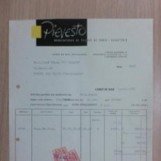 Facturas antiguas: FACTURA. CANET DE MAR. DICIEMBRE 1957. PIEVESTO. MANUFACTURAS DE TEJIDOS DE PUNTO. CALCETERIA.. Lote 34617757