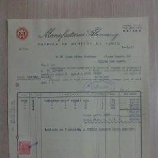 Facturas antiguas: FACTURA. MATARO. MAYO 1959. MANUFACTURAS ALEMANY. FABRICA DE GENEROS DE PUNTO.. Lote 34617936
