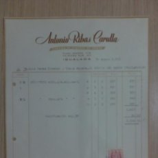 Facturas antiguas: FACTURA DE IGUALADA 1953. ANTONIO RIBAS CARULLA. FABRICA DE GENEROS DE PUNTO. Lote 34622291