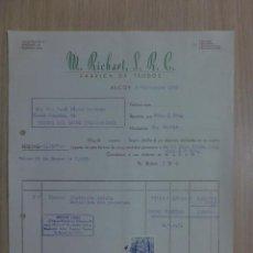 Faturas antigas: FACTURA DE ALCOY 1958. M. RICHART S.R.C. FABRICA DE TEJIDOS. PIEZAS TAPICERIA GACELA. Lote 34622337