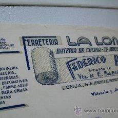 Facturas antiguas: FERRETERÍA LA LONJA, BATERÍA DE COCINA-TEJIDOS METÁLICOS: FEDERÍCO POVEDA, VALENCIA, 1943. Lote 34851377