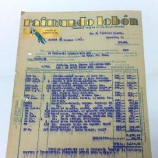 Facturas antiguas: AÑO 1941.- RAIMUNDO LOBÓN.- MADRID.-. FACTURA CON MEMBRETE. Lote 35269313