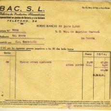Facturas antiguas: FACTURA DE BAC SL FABRICA DE PRODUCTOS ALIMENTICIOS DE BORJAS BLANCAS DE 1936. Lote 108458426