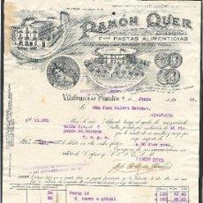 Facturas antiguas: FACTURA RAMON QUER AÑO 1926 VILAFRANCA DEL PENEDES PASTAS ALIMENTICIAS . Lote 35912739