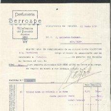 Facturas antiguas: FACTURA PERFUMERIA BERROZPE AÑO 1930 VILAFRANCA DEL PENEDES. Lote 36048446