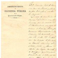 Facturas antiguas: BURGOS-ADMINISTRACION PRINCIPAL DE HACIENDA PUBLICA DE LA PROVINCIA DE BURGOS-AÑO 1860-15 X 21 CM-. Lote 36762512