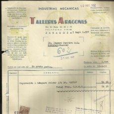 Facturas antiguas: FACTURA DE TALLERES ARAGONES. ZARAGOZA. 1957. Lote 36905388