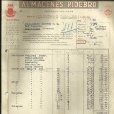 Facturas antiguas: FACTURA DE ALMACENES RIOEBRO. ZARAGOZA. 1957. Lote 36905564