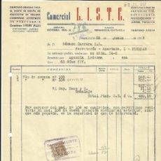 Facturas antiguas: FACTURA DE COMERCIAL LISTE. ZARAGOZA. 1957. Lote 36917510