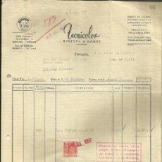 Facturas antiguas: FACTURA DE TECNICOLOR. RIBALTA & GOMEZ. ZARAGOZA. 1957. Lote 36920384