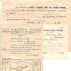 Facturas antiguas: ALICANTE - LOTE DE 3 RECIBOS EMPRESAS DE CONSTRUCCIÓN Y PESCADOS -AÑOS 30 Y 40. Lote 36998540