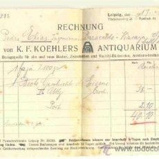 Facturas antiguas: FACTURA 1925 .. ANTIQUARIUM K. F. KOEHLERS .. IMPRESA ALEMANA A UN INGENIERO DE VIZCAYA. Lote 37027374