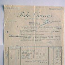 Facturas antiguas: FACTURA / PLATERIA Y BISUTERIA / PEDRO CARRERAS / MAHON 1957 / MENORCA BALEARES. Lote 190399138