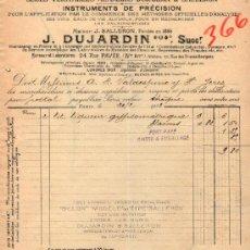Facturas antiguas: FACTURA DE J. DUJARDIN SUCCRS. FABRIQUE D'INSTRUMENTS DE PRÉCISION. PARIS 1913. Lote 37151535