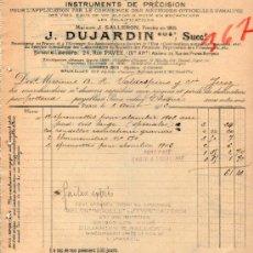 Facturas antiguas: FACTURA DE J. DUJARDIN SUCCRS. FABRIQUE D'INSTRUMENTS DE PRÉCISION. PARIS 1913. Lote 37152732