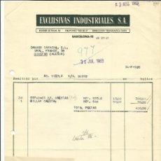 Facturas antiguas: FACTURA DE EXCLUSIVAS INDUSTRIALES S.A. BARCELONA. 1963. Lote 37197810