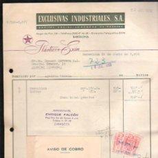 Facturas antiguas: FACTURA DE EXCLUSIVAS INDUSTRIALES, S.A. PLASTICOS EXIN. BARCELONA. 1956. Lote 37213133