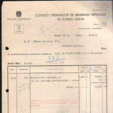 Facturas antiguas: FACTURA DEL CONSEJO ORDENADOR DE MINERALES ESPECIALES DE INTERES MILITAR. MADRID. 1956. Lote 37213349