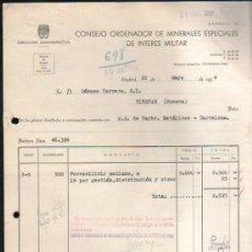 Facturas antiguas: FACTURA DEL CONSEJO ORDENADOR DE MINERALES ESPECIALES DE INTERES MILITAR. MADRID. 1956. Lote 37213362
