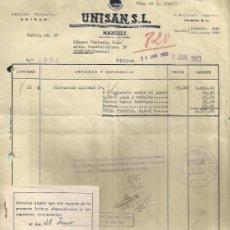 Facturas antiguas: FACTURA DE UNISAN, S.L. ASOCIACIÓN DE FABRICANTES DE LOZA SANITARIA. VALENCIA. 1963. Lote 37213611