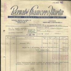 Facturas antiguas: FACTURA DE BERNABÉ CHAMORRO MARTÍN. CARBUROS, DROGAS Y PRODUCTOS QUÍMICOS. BARCELONA. 1963. Lote 37215270
