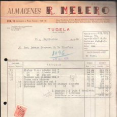 Facturas antiguas: FACTURA DE ALMACENES R.MELERO. LOZA, CRISTAL. TUDELA, NAVARRA. 1955. Lote 37215619