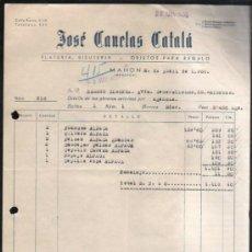 Facturas antiguas: FACTURA DE JOSE CANELAS CATALA. PLATERIA, BISUTERIA Y OBJETOS DE REGALO. MAHON, MENORCA. 1956. Lote 37216117