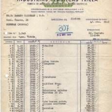 Facturas antiguas: FACTURA DE INDUSTRIAS PLÁSTICAS TRILLA. FABRICA DE ARTICULOS MOLDEADOS EN RESINAS. BARCELONA 1964. Lote 37231805