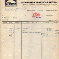Facturas antiguas: FACTURA DE INDUSTRIAS PLÁSTICAS TRILLA. FABRICA DE ARTICULOS MOLDEADOS EN RESINAS. BARCELONA 1964. Lote 37231859