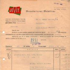 Facturas antiguas: FACTURA DE JEVIT. MANUFACTURAS METÁLICAS. NAVARRA 1965. Lote 37251636