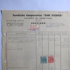 Facturas antiguas: FACTURA / HIERRO GRIS / FUNDICION COOPERATIVA SAN VICENTE / ABADIANO 1958 / VIZCAYA. Lote 37264726