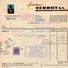 Faturas antigas: FACTURA DE INDUSTRIAS SERROT, S. A. BARCELONA 1963. Lote 206420635
