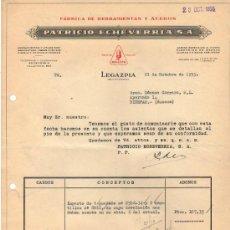 Facturas antiguas: FACTURA DE PATRICIO ECHEVERRIA, S. A. FABRICA DE HERRAMIENTAS Y ACEROS. LEGAZPIA ( GUIPUZCOA) 1955. Lote 37311473