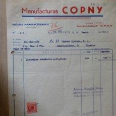 Facturas antiguas: FACTURA DE MANUFACTURAS COPNY. METALES MANUFACTURADOS. VALENCIA 1958.. Lote 37316750